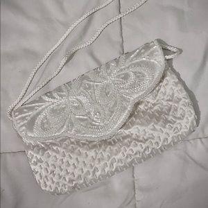 MAGID Vintage White Satin Beaded Evening Bag